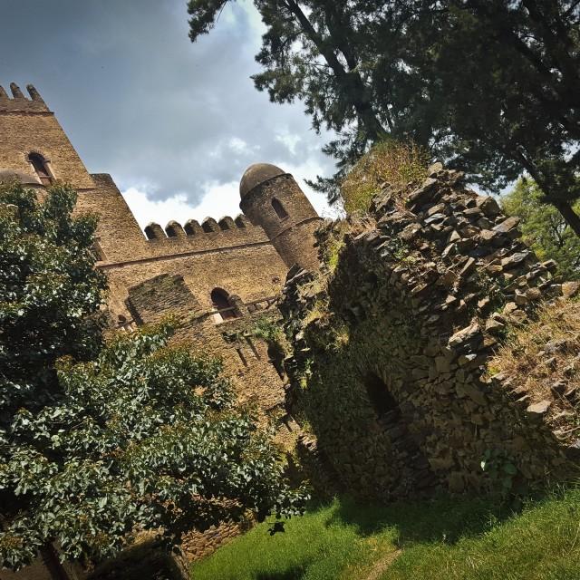"""Medieval castle in Gonder, Ethiopia"" stock image"