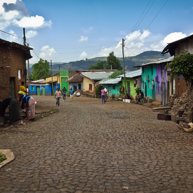 """A cobbled street in Gonder, Ethiopia"" stock image"