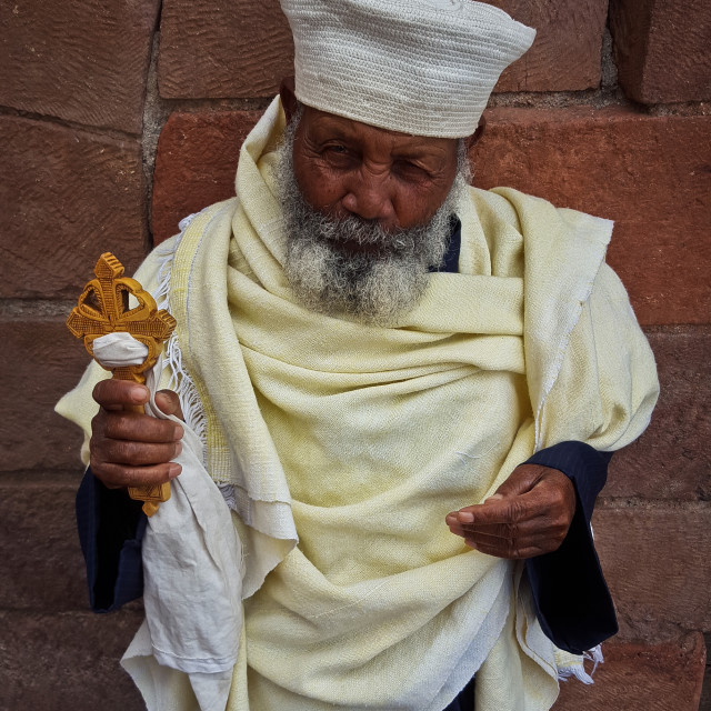 """An Ethiopian priest offers a blessing"" stock image"