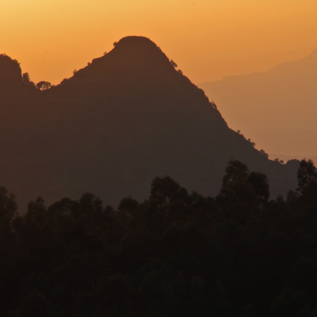 """Orange sunset over Simien Mountains, Ethiopia"" stock image"