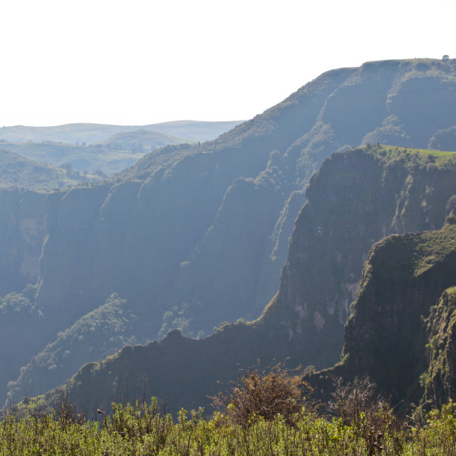 """Towering cliffs of the Simien Mountains, Ethiopia"" stock image"