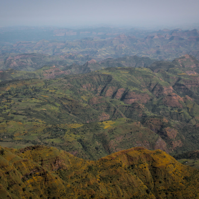 """The lowlands of the Simien Mountains, Ethiopia"" stock image"