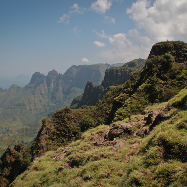 """The escarpment of the Simien Mountains, Ethiopia"" stock image"