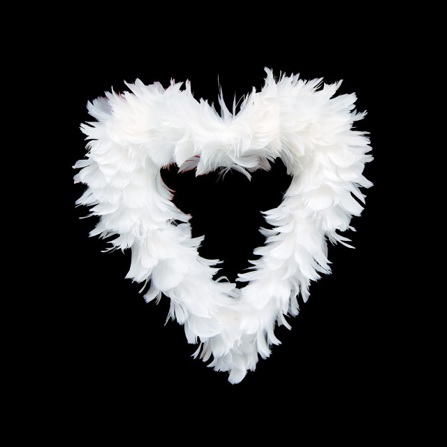 """White feathers heart"" stock image"
