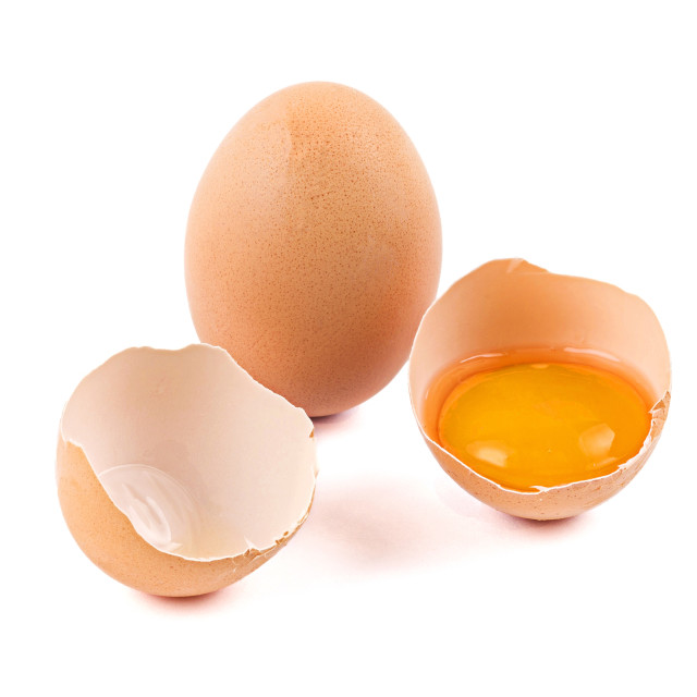 """Chicken eggs with broken egg"" stock image"
