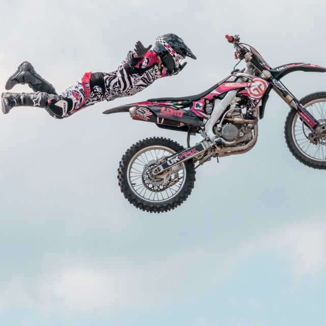 """Motorbiker Flying"" stock image"