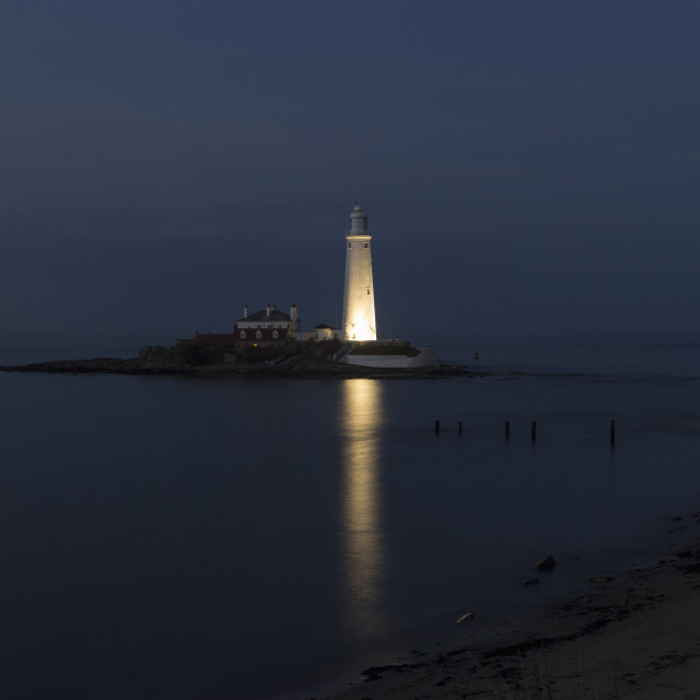 """""""St Mary's Island and lighthouse."""" stock image"""