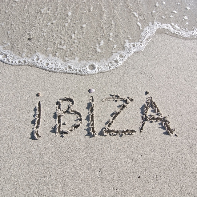 """Ibiza written in sand"" stock image"