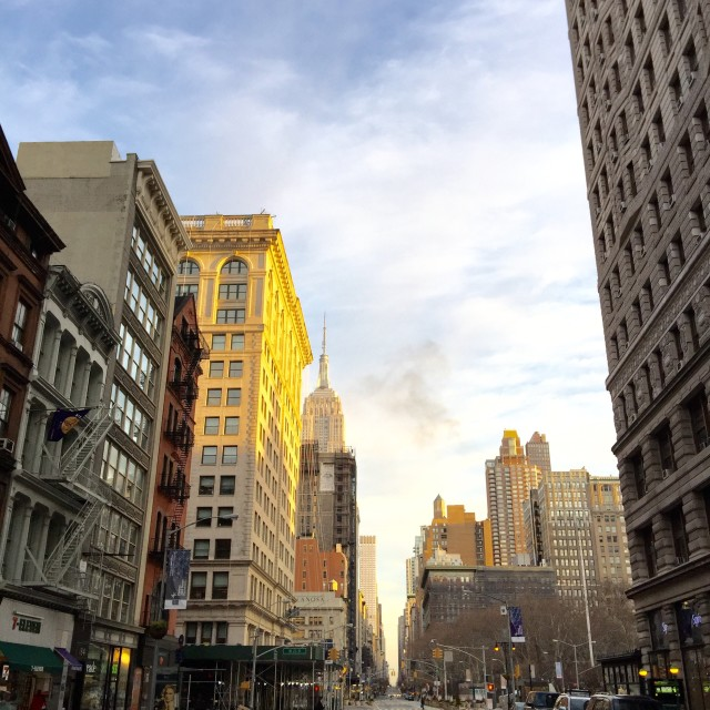 """""""View from Flatiron building to Empire State Building through 5th avenue, NY"""" stock image"""
