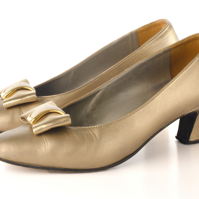 """""""Gold high-heeled shoes"""" stock image"""