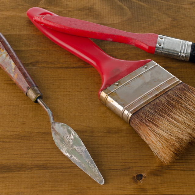 """Art brushes and spatula"" stock image"
