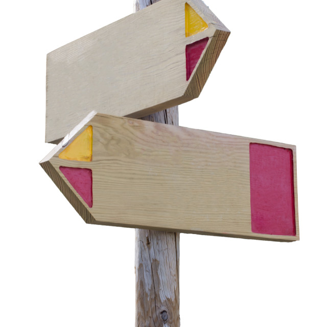 """Wooden direction sign"" stock image"