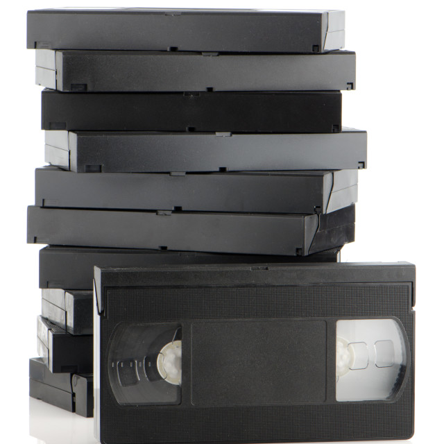 """Pile of videotapes"" stock image"