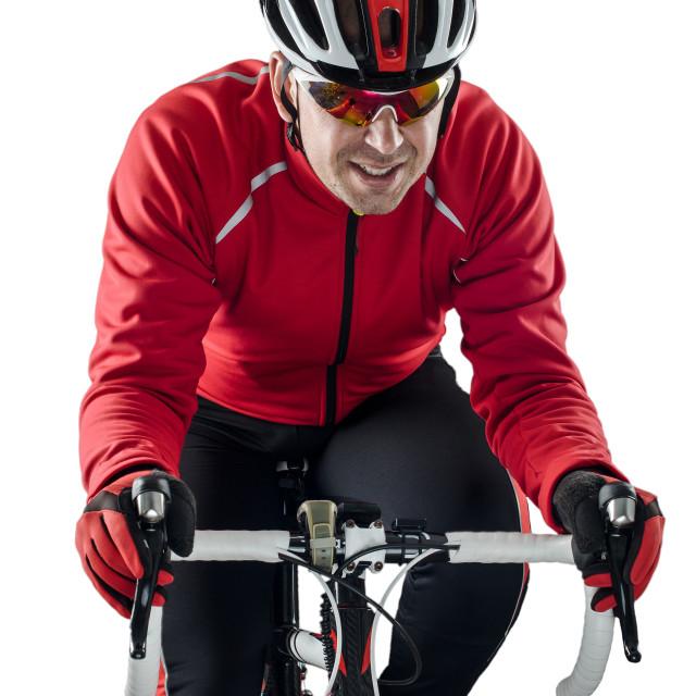 """Cyclist riding a bike"" stock image"