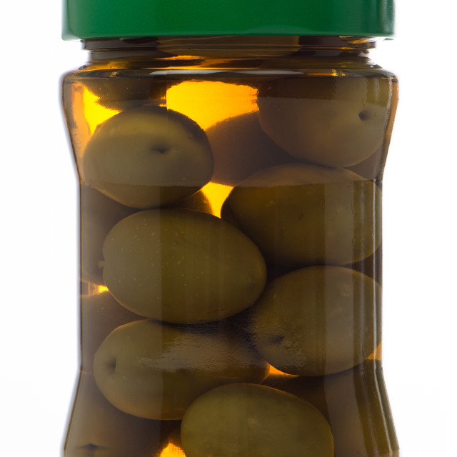"""Olives in glass jar"" stock image"