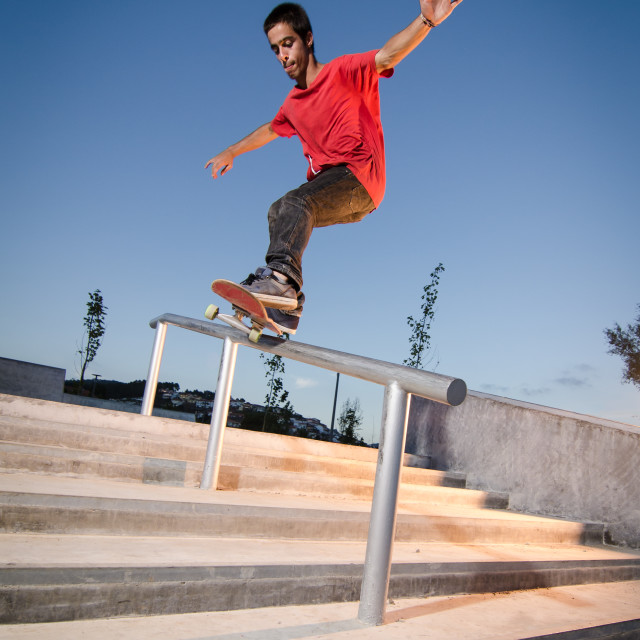 """""""Skateboarder on rail"""" stock image"""