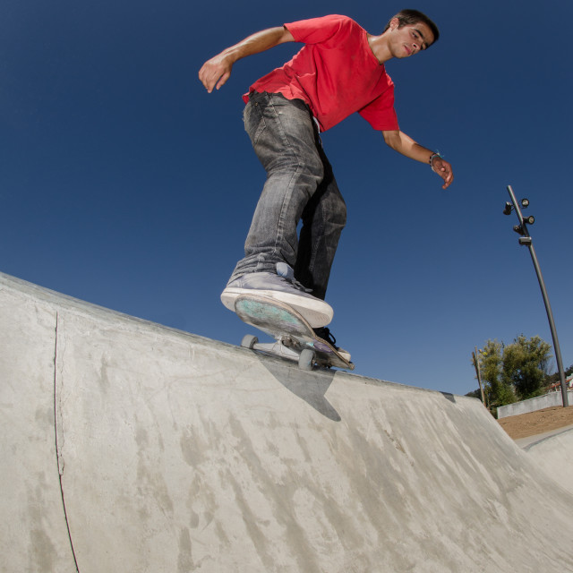 """""""Skateboarder on a curb"""" stock image"""