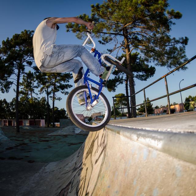 """BMX Bike Stunt tap"" stock image"