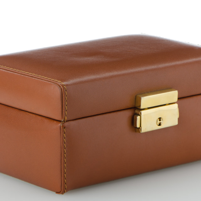 """Brown leather jewelery box"" stock image"