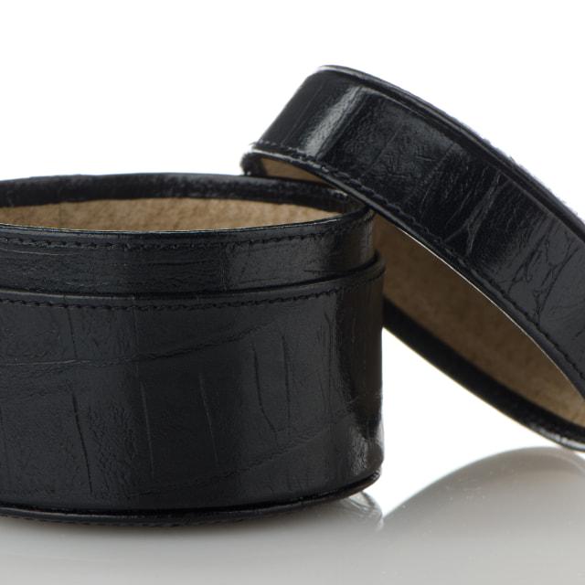 """Black leather jewelery box"" stock image"