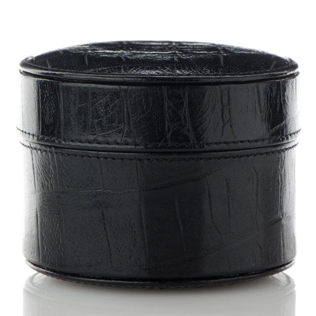 """Black leather jewelery box"" stock image"