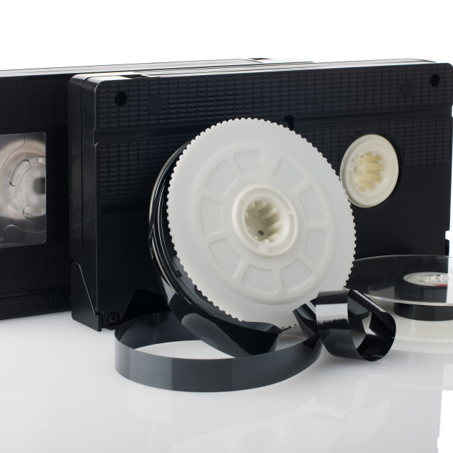 """Two videotapes and reel"" stock image"