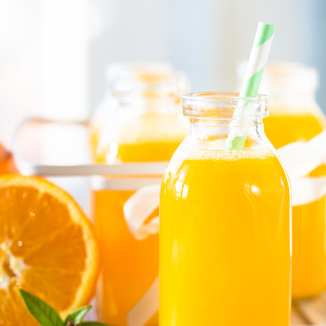 """Orange juice bottle"" stock image"