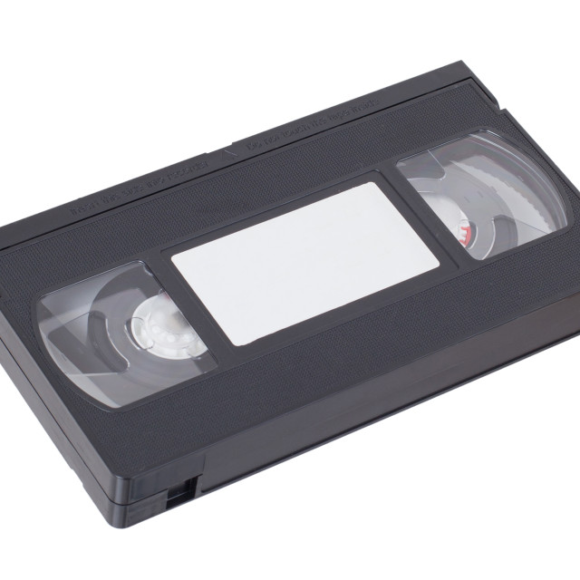 """Retro videotape isolated on a white background"" stock image"