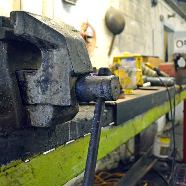 """Metal work Vice on Bench"" stock image"