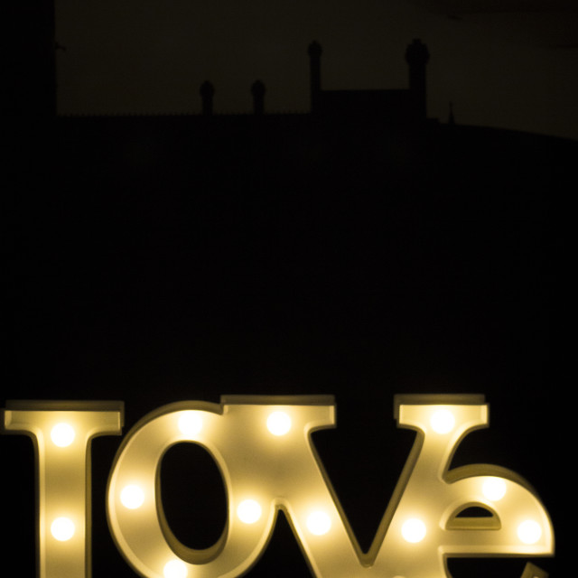 """Romantic neon love sign at night"" stock image"