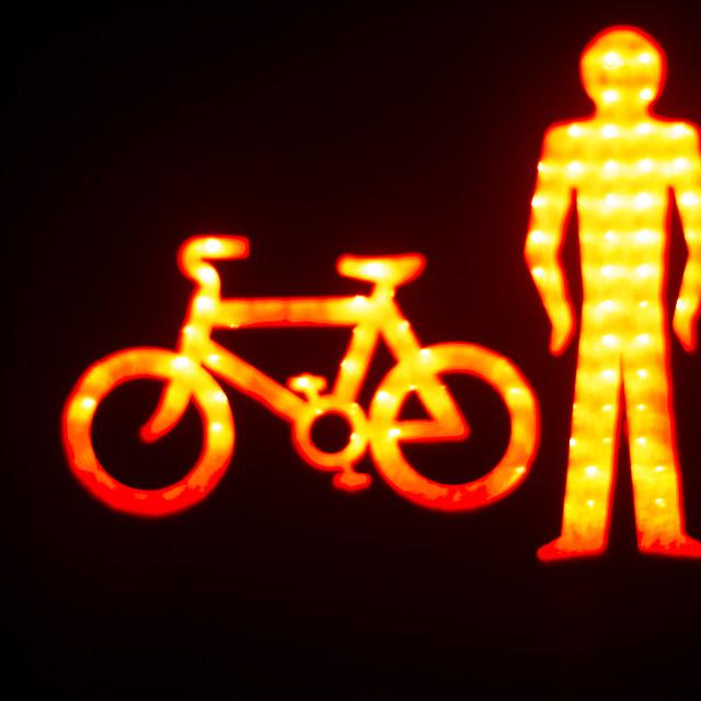 """Green man go pedestrian traffic light"" stock image"