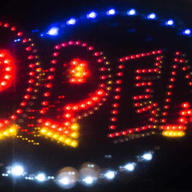 """""""Neon shop open store sign"""" stock image"""