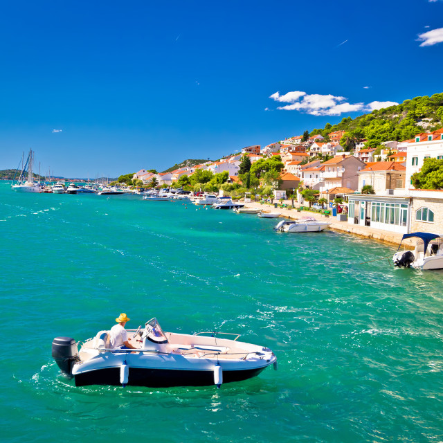 """Summer view of Tisno coast"" stock image"