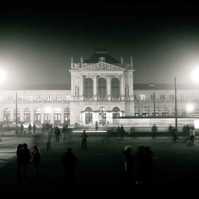 """""""Zagreb central station black and white view"""" stock image"""