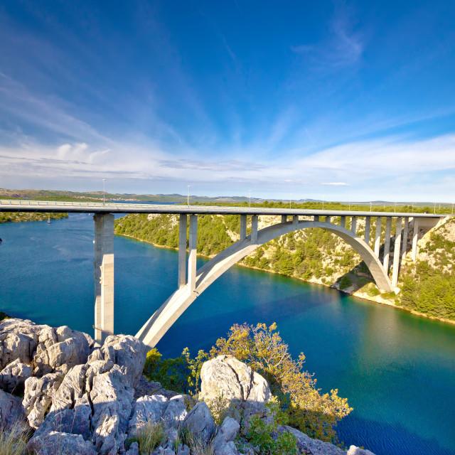 """Arch bridge over Krka river"" stock image"