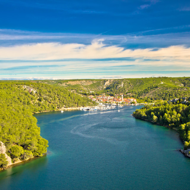 """""""Krka river and town of Skradin"""" stock image"""