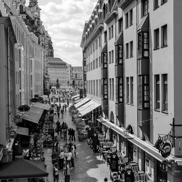 """""""People walk along Munzgasse"""" stock image"""