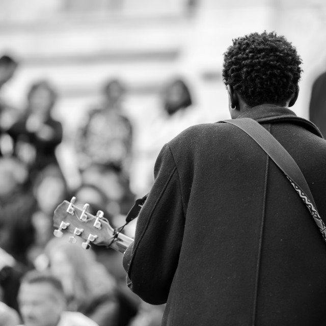 """""""Male musician playing in the street near Sacre Coeur for money"""" stock image"""