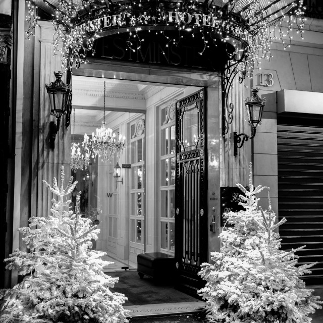 """""""Entrance of Westminster Hotel in Paris"""" stock image"""