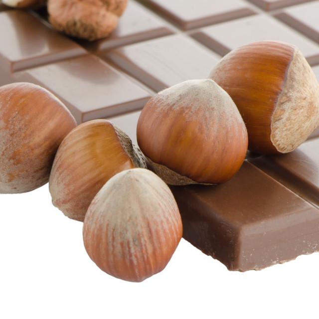 """Chocolate Bar with hazelnuts"" stock image"