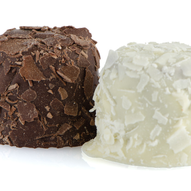 """""""White and brown chocolate candies"""" stock image"""
