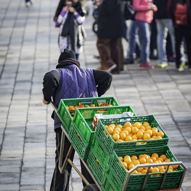 """""""Deliver my fruit and vegetables"""" stock image"""