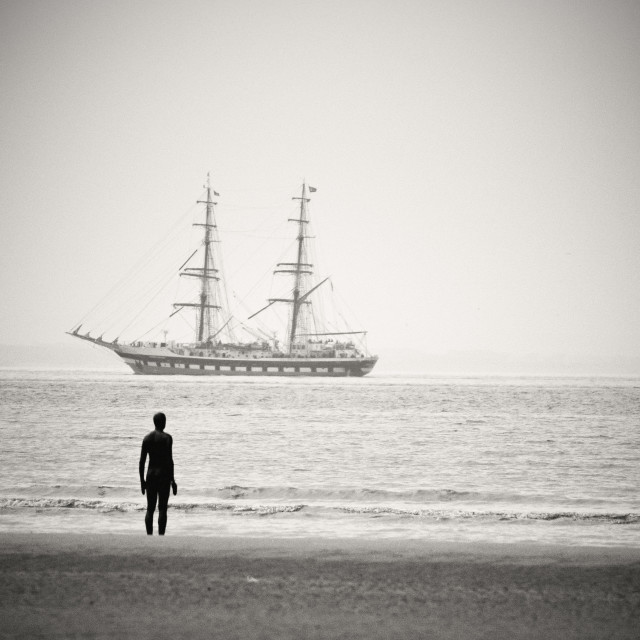 """Antony Gormley Another Place Crosby Beach"" stock image"