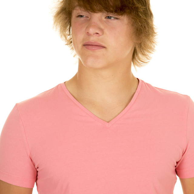 """""""young man in pink shirt look to side"""" stock image"""