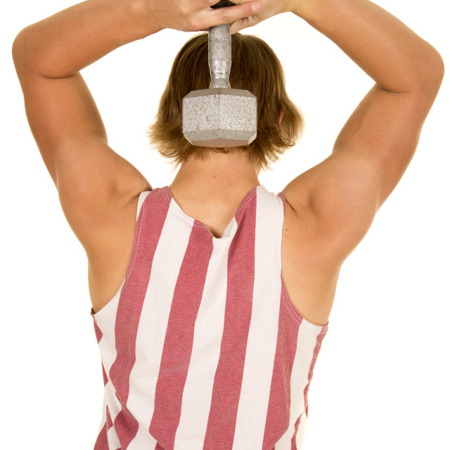 """young man in striped tank top weight behind head back"" stock image"