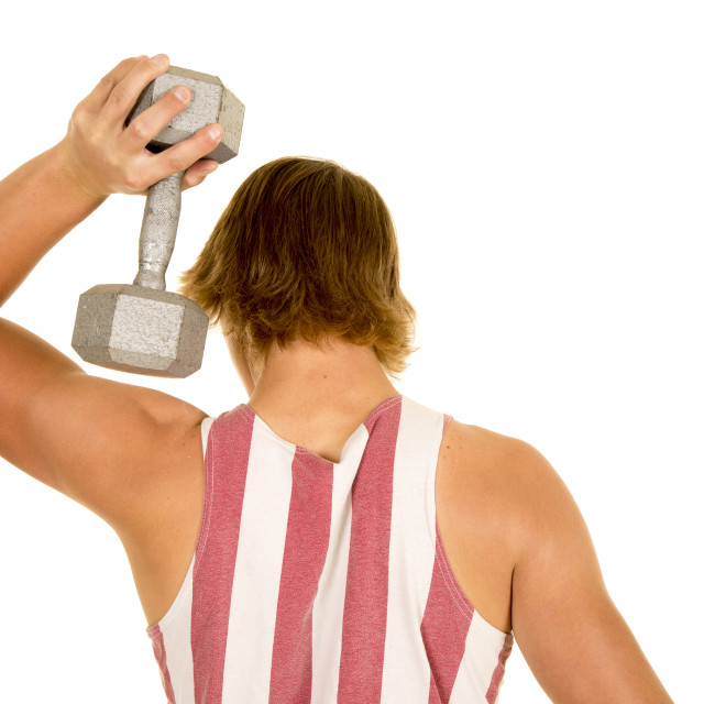 """young man in striped tank top weight by head"" stock image"
