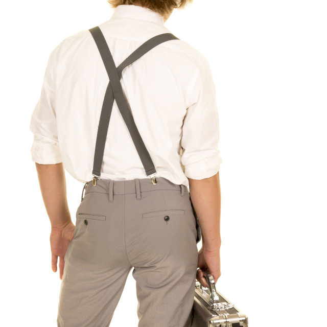 """young man with case from back"" stock image"