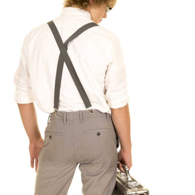 """young man with case from back look to side"" stock image"