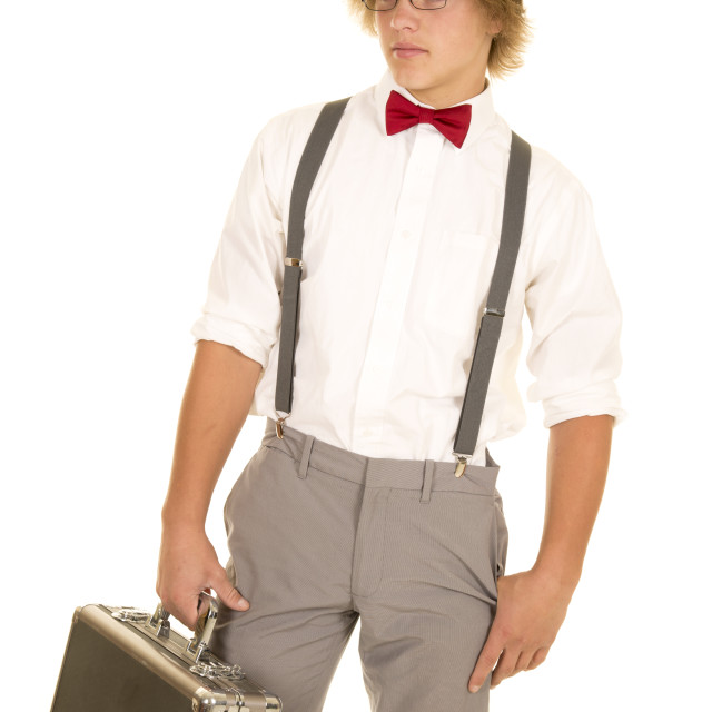 """young man with case red bow tie look down"" stock image"