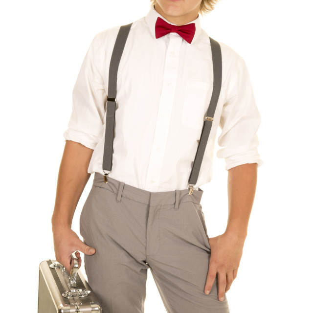"""young man with case red bow tie look side"" stock image"